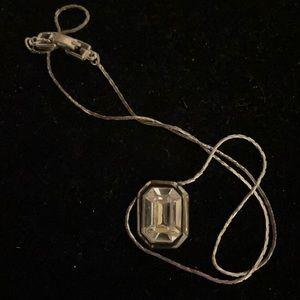 "Givenchy 15"" silver tone rhinestone necklace"